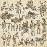 Soldiers, Army - An hand drawn collection. Warriors on old paper. Freehand sketching. - 201411916