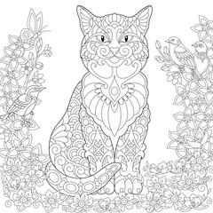 Zentangle cat in the flower garden and lovely spring birds