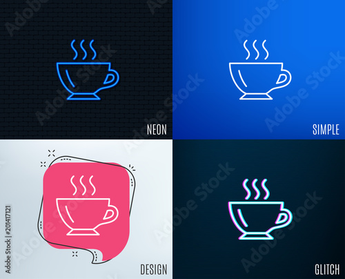 Wall mural Glitch, Neon effect. Coffee cup line icon. Hot drink sign. Cappuccino symbol. Trendy flat geometric designs. Vector