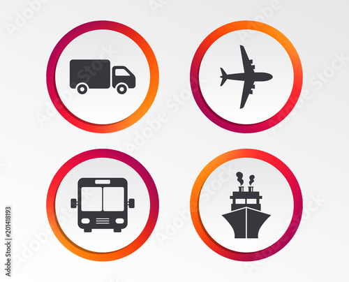 Fridge magnet Transport icons. Truck, Airplane, Public bus and Ship signs. Shipping delivery symbol. Air mail delivery sign. Infographic design buttons. Circle templates. Vector