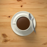 3D Rendering cup of coffee with spoon top view on wood background