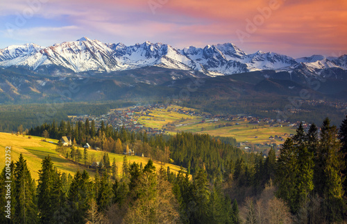 Polish mountains Tatry at sunset - 201422752