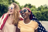 Women with American flag - 201434769