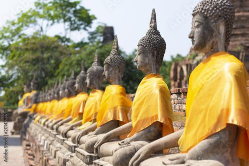 ฺีBuddha statue image in the temple in Ayutthaya, Thailand.