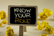 Text sign showing Know Your Role. Conceptual photo define position in work or life Career Life goals active written on Wooden Notice Board on the plain background Yellow Paper Balls.