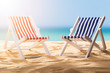 Close-up Of Two Deck Chairs