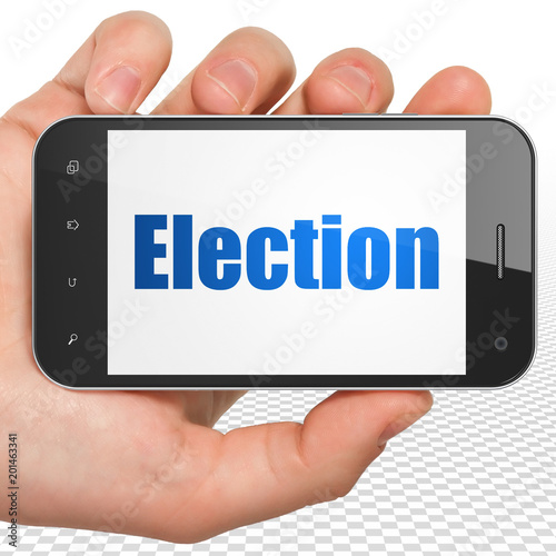 Politics concept: Hand Holding Smartphone with blue text Election on display, 3D rendering - 201463341