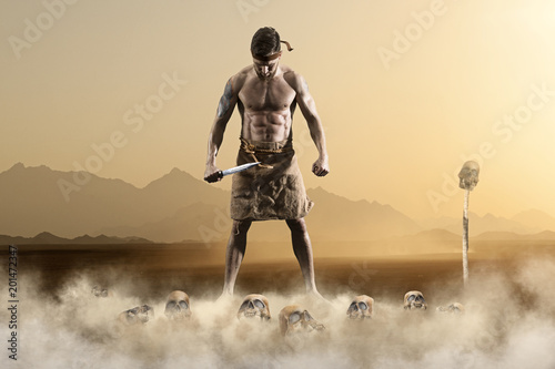 Warrior with sword on epic background