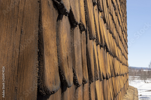 Close up of old type of wooden panel