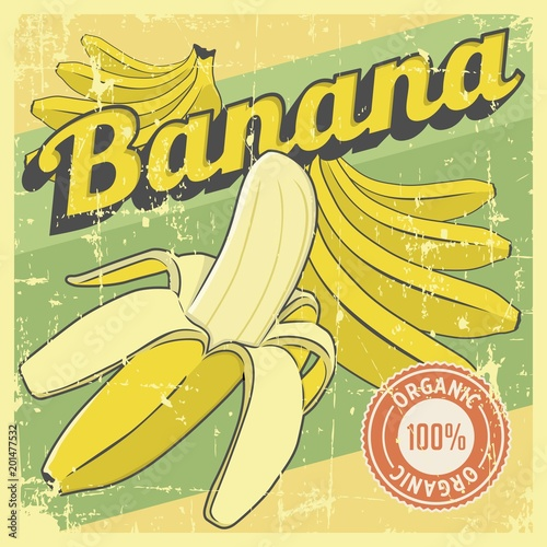 Aluminium Vintage Poster Banana Vintage Retro Signage Vector