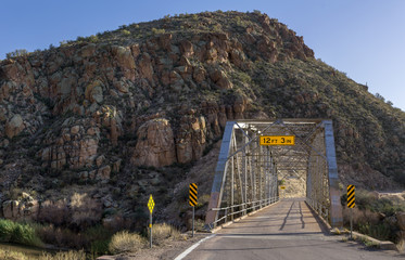 Bridge over the Upper Salt River at the Globe-Young  Hwy 288 at Tonto National Forest, AZ, USA