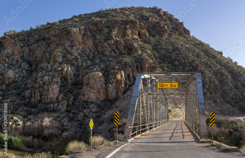 Bridge over the Upper Salt River at the Globe-Young  Hwy 288 at Tonto National Forest, AZ, USA - 201478366