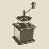 hand drawn vintage coffee grinder - 201479910