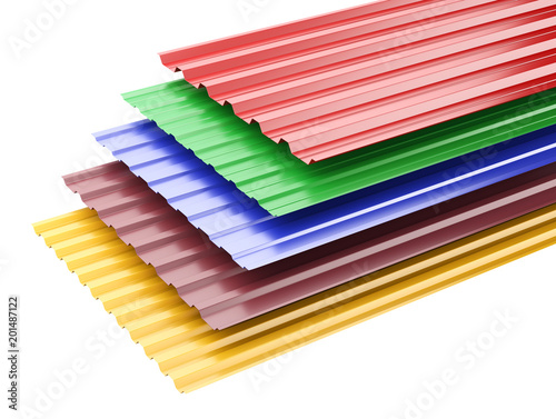 Fridge magnet Metal corrugated roof sheets, with various colors.