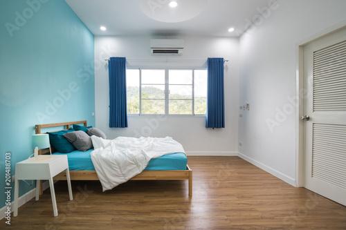 Foto Murales Blue bedroom interior design.