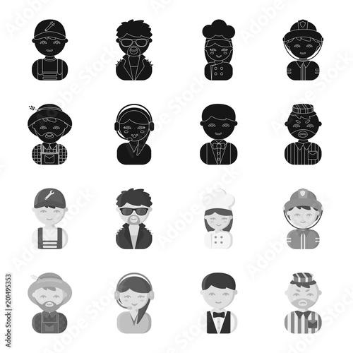 Farmer, operator, waiter, prisoner.Profession set collection icons in black,monochrome style vector symbol stock illustration web.