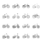 Children bicycle and other kinds.Different bicycles set collection icons in outline,monochrome style vector symbol stock illustration web. - 201496905