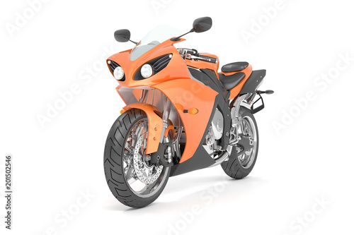 3d illustration of an isolated orange black sport motorcycle.