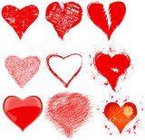 Set of various grungy hearts and love symbols,vector