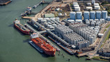 Aerial oil tankers storage silo tanks terminal.