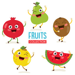 Vector Illustration of Fruit Characters