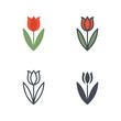 Tulip easter holidays icon vector flat line colored sillhouete