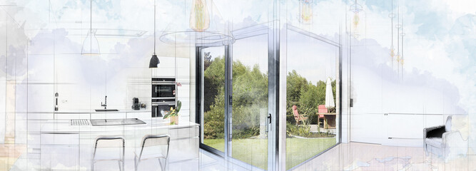Digital Artwork of a Open modern kitchen from loft © pbombaert
