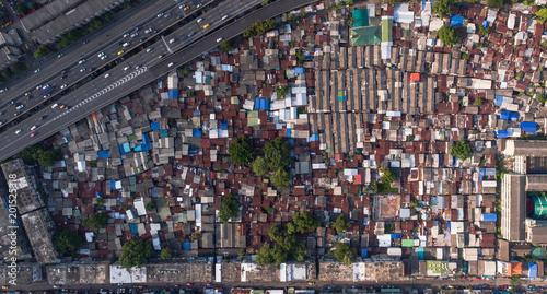 Aerial view of Klong Toey, Bangkok, Thailand - 201525318