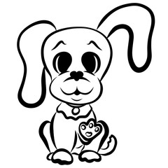 Funny puppy with a big head and long ears, greeting