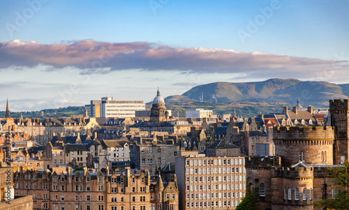 Edinburgh cityscape viewed from Calton Hill Scotland UK - 201533779