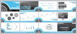 Fototapeta Abstrakcje - Сині, сірі, елементи для інфографіки на білому фоні. Найкращий набір шаблонів презентацій. Презентація, листівка та флаєр, корпоративний звіт, маркетинг, реклама, супернові, річний звіт © VASYL