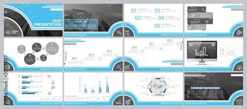 Сині, сірі, елементи для інфографіки на білому фоні. Найкращий набір шаблонів презентацій. Презентація, листівка та флаєр, корпоративний звіт, маркетинг, реклама, супернові, річний звіт © VASYL