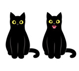 Black cat sitting illustration - 201539596