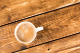 coffee cup on a wooden background