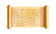 Old textured wide papyrus scroll with ancient egypt hieroglyphics on white