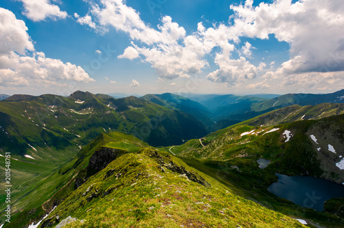 view from Saua Vaiuga in to the Valley of Fagaras. beautiful summer landscape of Southern Carpathian mountains, Romania - 201548751