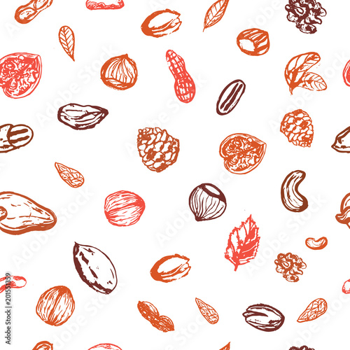 Grunge nuts seamless pattern in brown autumn color with hazelnut, walnut, pine nuts, pecan, peanut. Healthy hand drawn snack collection for logo, icon design