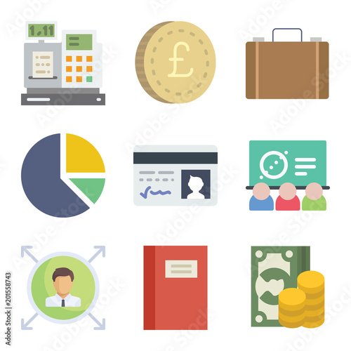 Set of 9 business flat icons