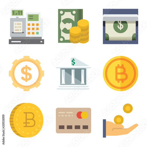 Set of 9 money flat icons