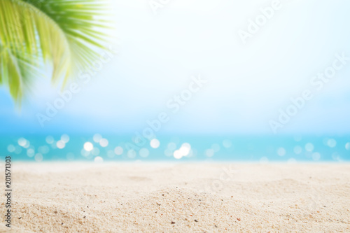 A seascape tropical beach. blur and bokeh light of seascape background, vintage color style. Focus on foreground. - 201571303