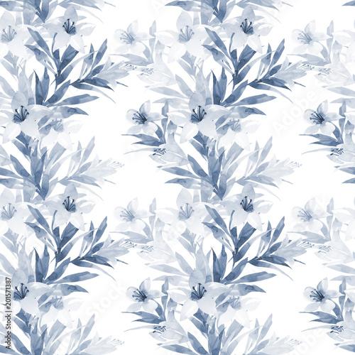 kwiatowy wzór z ręcznie rysunek lilii akwarela na niebiesko. Tło wiosna na białym tle
