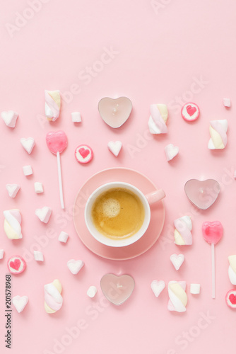 Wall mural coffee with sweets for Valentive day