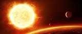 Fototapeta Space - Große Sonne mit Planeten © Inga Nielsen