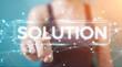 Businesswoman using solution digital text 3D rendering