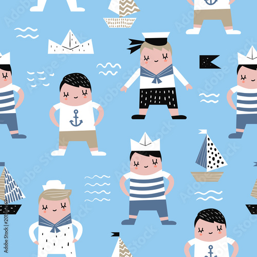 Cotton fabric Childish Seamless Pattern with Sailor Boy. Children Marine Background with Boats for Fabric, Print, Wrapping, Wallpaper. Vector illustration