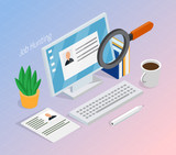 Employment Recruitment Isometric Background - 201595397