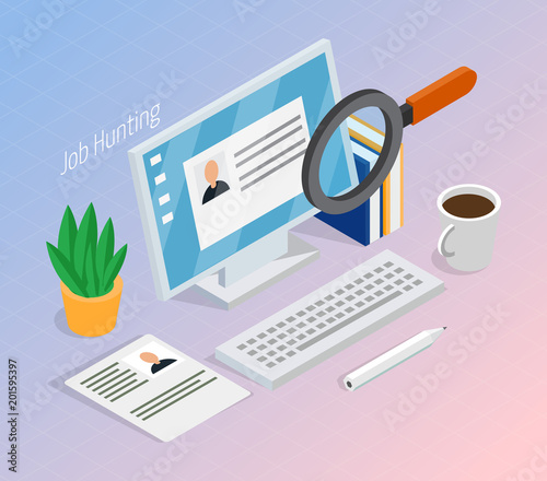 Employment Recruitment Isometric Background