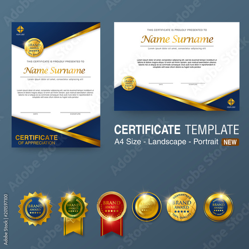 Certificate Template With Luxury Pattern Diploma Vector Illustration