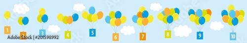 balony z cyframi 1-10 / plansza edukacyjna dla dzieci/ matematyka-liczenie - 201598992