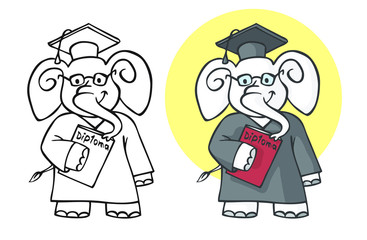elephant student with diploma